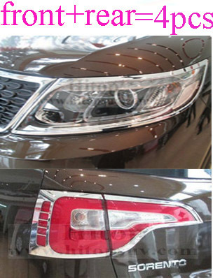 цены  for KIA Sorento 2013 2014 Chrome headlight/head light lamp cover trim and tail light cover,front+rear, total 4 pcs.