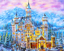 "DIY Painting By Number – Castle in the Winter (16""x20"" / 40x50cm)"
