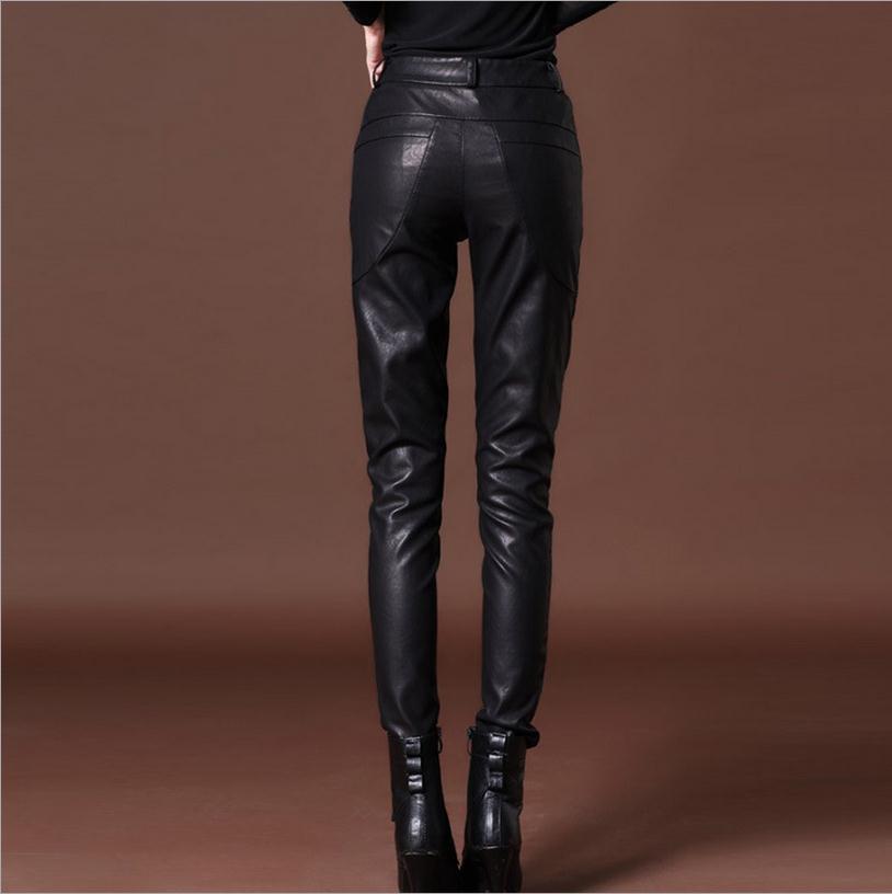 Automne et hiver femme nouvelle mode Pu cuir avec velours crayon pantalon Slim leggings plus épais plus cachemire chaleur pantalon w1813 - 2