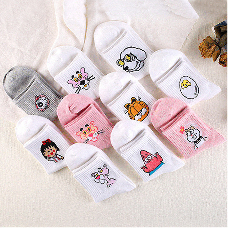 Pink Leopard Banknote Dog Small Ball Cartoon Comic Harajuku Funny White Gray Sock Woman Fashion Casual Cotton Short Socks Autumn