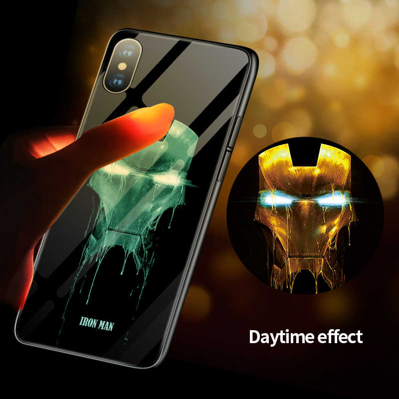 Marvel Venom Iron Man Luminous Glass Phone Case For iPhone 11 Pro Max XSmax XR XS X 8 7 6s 6 Plus Batman SpiderMan Cover Coque