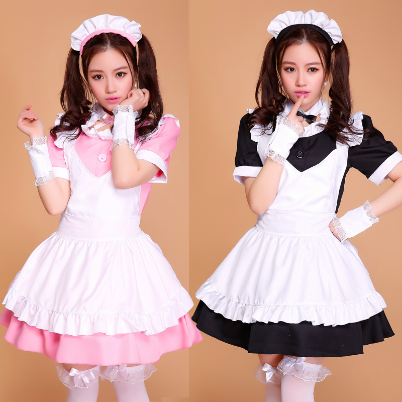 French <font><b>Anime</b></font> Beer Adult Naughty <font><b>Halloween</b></font> Sissy Maid Dress Cosplay <font><b>Sexy</b></font> Maid <font><b>Costumes</b></font> Women Cosplay Lolita Pink Black Japanese image