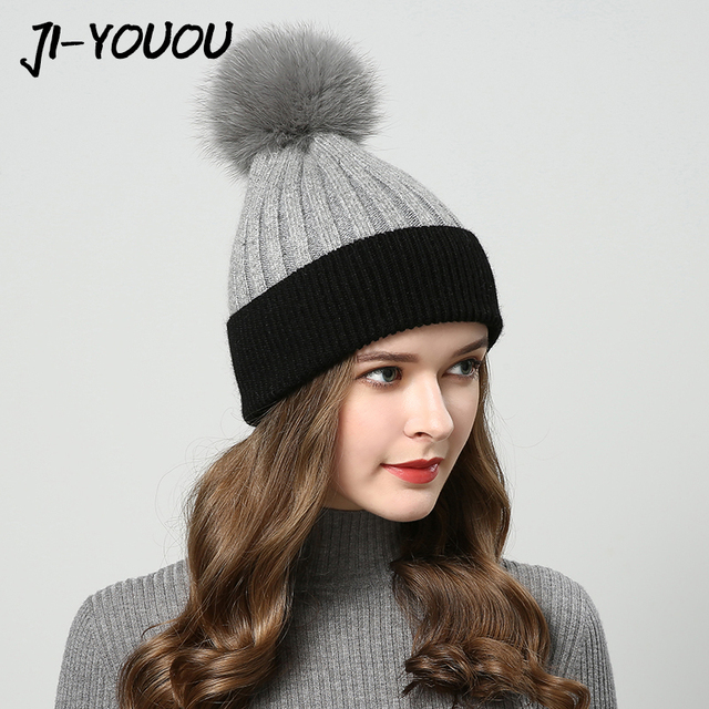 f362e41b883 winter hats for women with pompom fur hat women s knitted hat beanie  raccoon fur ball hat A cap Thicker Women s cap beanies