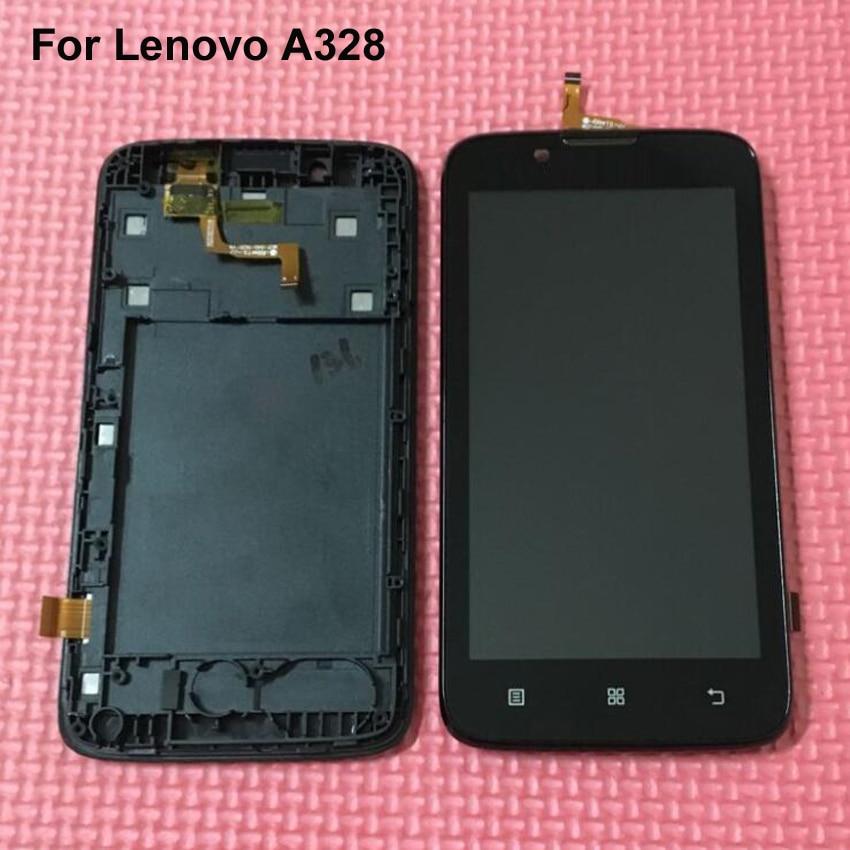 imágenes para Garantía 100% NUEVO LCD Display + Touch Screen Panel Digitalizador Asamblea con El Marco Para Lenovo A328 Teléfono Reparación de Piezas de Reemplazo