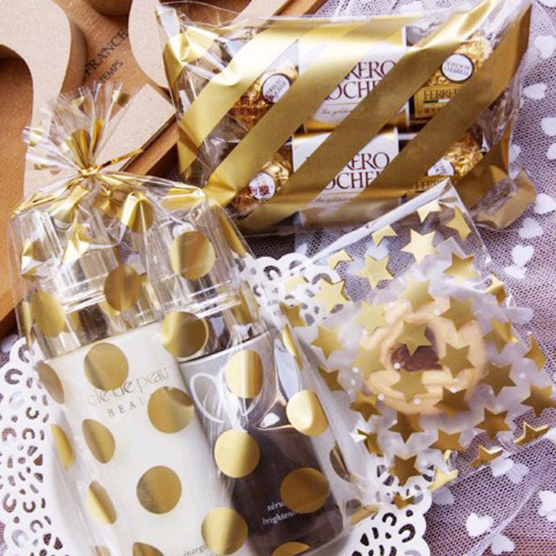 25 Pcs/lot 8 X10 +3 Cm Golden Star Design Adhesive Bag Cookies Diy Gift Bag For Christmas Wedding Party Candy Food Packaging Bag