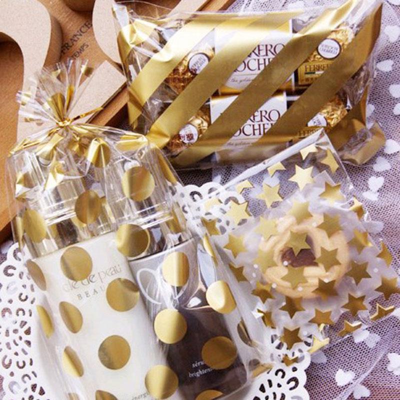 25 Pcslot 8 X10 3 Cm Golden Star Design Adhesive Bag Cookies Diy