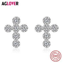 New Fashion 925 Sterling Silver Clear CZ Sparkling Cross Stud Earrings For Women Luxury Brand Jewelry Gift