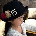 2016 Venta Caliente Del Invierno Niñas Sombreros de Copa 2 Unids/lote 3 Colores 2-10Years Niños de Alta Calidad 100% Lana Sombreros de Diseño de Moda otoño Nueva Llegada