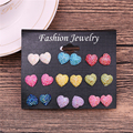 Hot-selling cute 9 Color Heart Shape earrings set for women Girl imitation earring 9 pairs/sets 1cm Gift Brincos