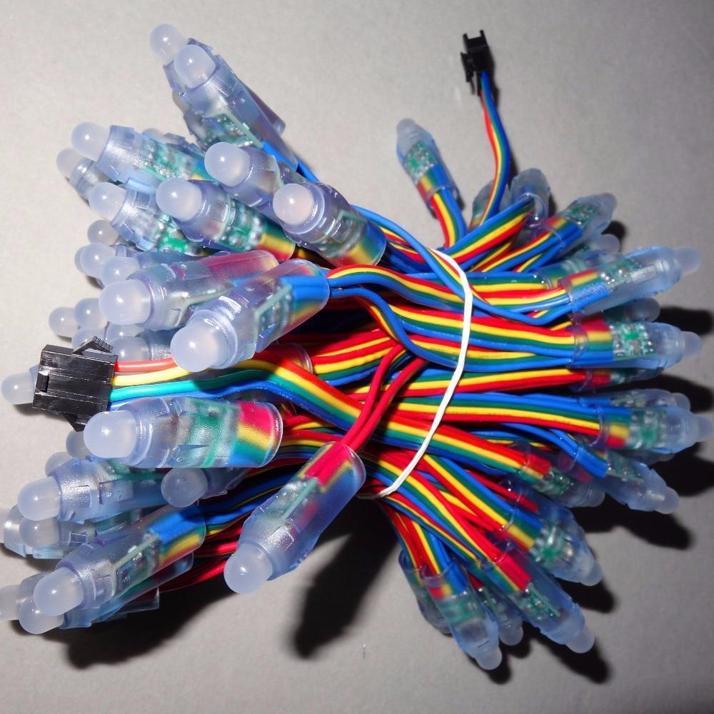 IP68 вход DC5V 12 мм сквозное отверстие линия светодиодных букв; цветная(RGB); 50 шт. нитке