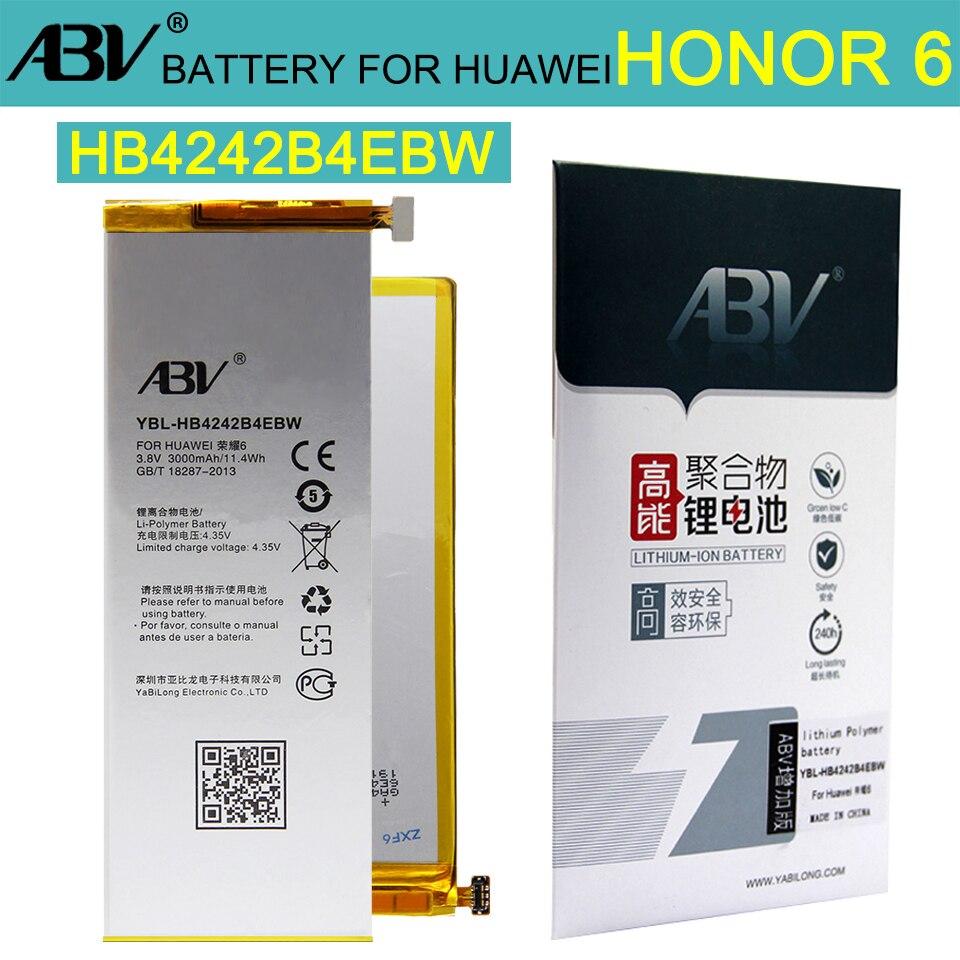 Original ABV High Quality HB4242B4EBW Battery For Huawei Honor 6 battery Honor6 H60-L01 H60-L02 H60-L11 H60-L04 2017new