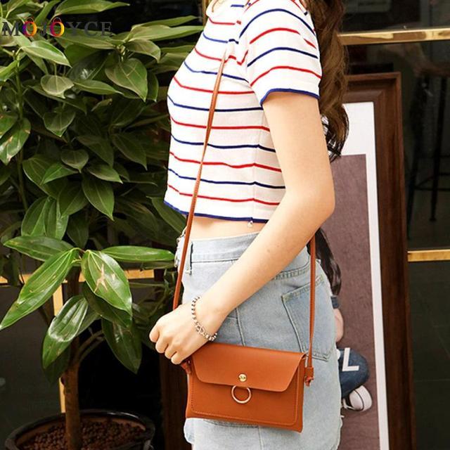 Women PU Leather Crossbody Messenger Bag Girls Small Sling Shoulder Bags Ladies Closure Cover Flap Handbag 3