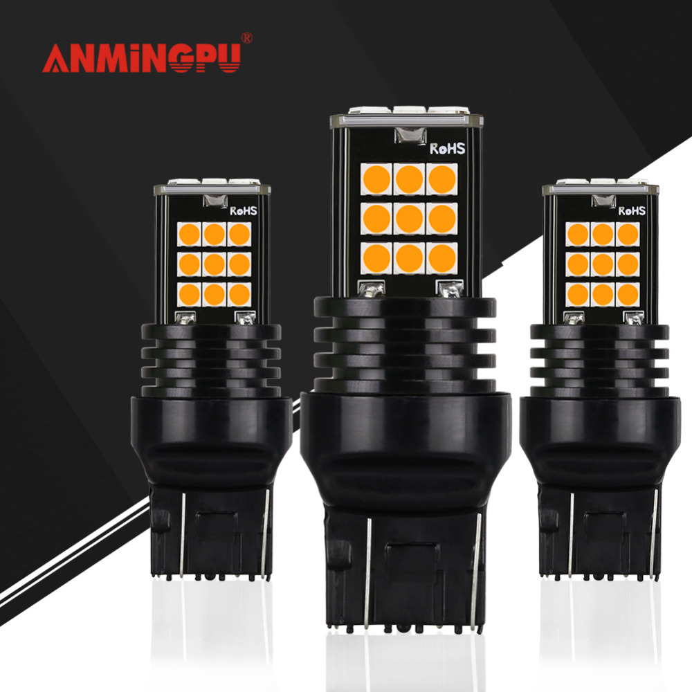 ANMINGPU 2x Signal Lamp 7443 <font><b>Led</b></font> W21/5w w21w Wy21w Turn signal Brake light <font><b>T20</b></font> 7440 <font><b>Led</b></font> 24 SMD 3030 Reverse <font><b>Rear</b></font> Light For Car image