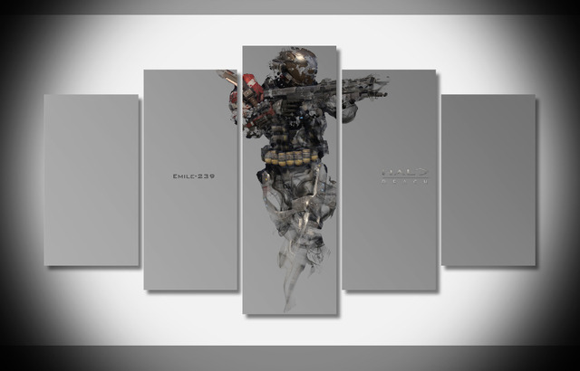 US $56 99 |6693 halo reach emile character game gun Poster Framed Gallery  wrap art print home wall decor wall picture Already to hang -in Painting &