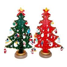 Cute Mini Christmas Tree 30 cm Wooden DIY Xmas Tree Christmas Decorations For Home Christmas Gifts Kids New Year Decoration X50
