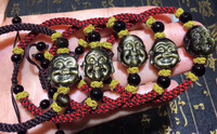 Free shipping >>NICE 13mm 100% Natural gold Obsidian Pure hand knit laughing Buddha Crystal Bracelet