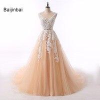 Baijinbai New Arrival Elegant White Appliques Scoop Button Back Tulle Tiered Women Wedding Dresses Court Train Bridal Dresses568