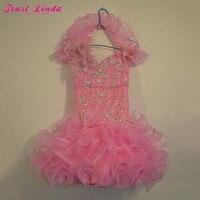 Настоящая фотография, платье для девочек с оборками из органзы и цветочным узором симпатичный с кристаллами, бисером, цветами, платье для ма