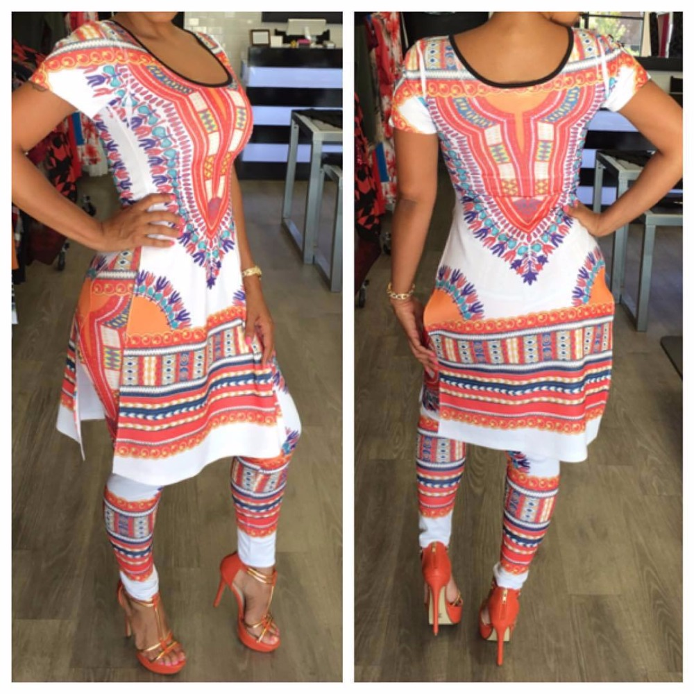 01370ffbb117 2017 Summer 2 Two Piece Set Women Ladies Sexy African Print Outfits Short  Sleeve Casual Bodycon