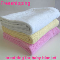 Free Shipping Natural Health Cotton Baby Kid Blanket Summer Knit Hole Breathable Strollar Blankets Mantas E