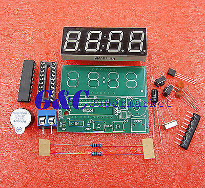 AT89C2051 Digital 4 Bits Electronic Clock Electronic Production Suite DIY Kit LED Display Suite Electronic Module