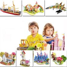 3D DIY Puzzle Jigsaw Baby font b toy b font Kid Early learning Castle Construction pattern