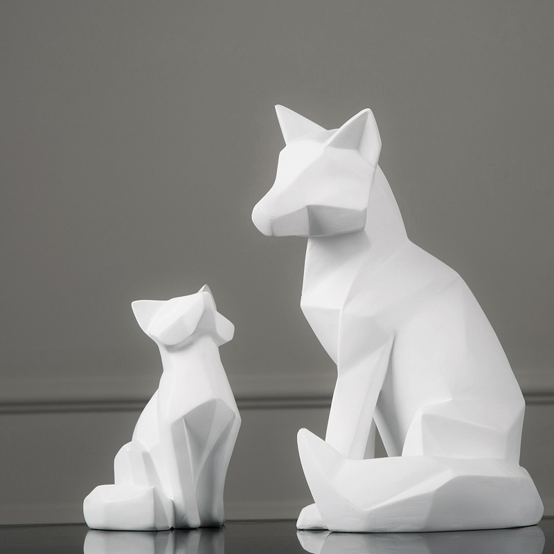 New Handmade Nordic Style Animal Sculpture White Geometric Fox Resin Decoration Modern Home Abstract Decors Handicrafts