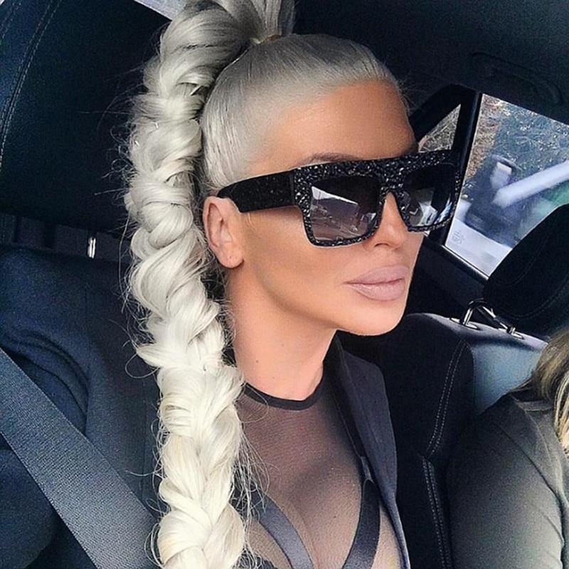 Pop Age Fashion Diamond Oversized Zonnebrillen Dames Kim Kardashian Rijden Zonnebril Heren Brillen Oculos de sol Gafas 400UV