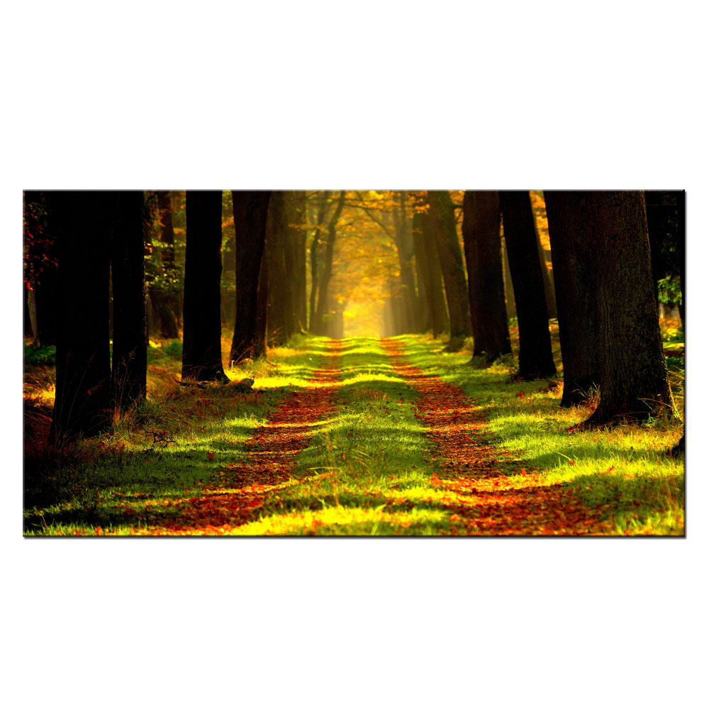 Autumn Canvas Wall Art Tree Golden Branch Gold Yellow Leaves