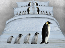 JF-028 Lovely penguin bedding sets Gift for kids single bed twin full size 3D duvet covers queen super king sheets linen(China)