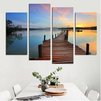 Seascape Pictures Sunset Landscape Wall Art Canvas Painting Beach Starfish Poster Wave Artwork for Living Room Home Decor 4PCS
