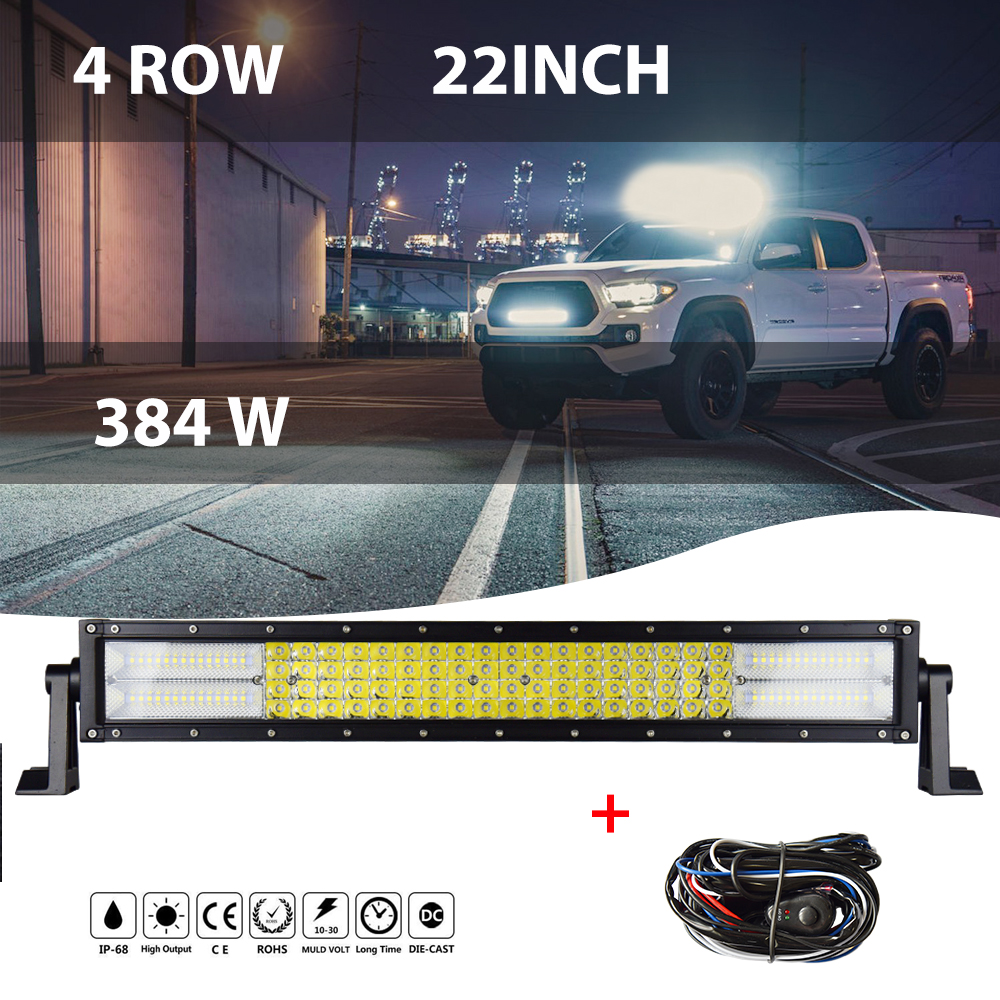 4 Rows 22 inch Curved LED Light Bar LED Work Light LED Bar for Car Tractor Offroad Truck 4x4 4WD for ATV SUV 12V 24V стоимость