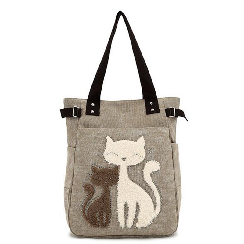 Three Colors Women's Handbag Canvas Bag Free Shipping! With Cute Cat Appliques Portable Small Bags Shopping Blue/Khaki Bag New