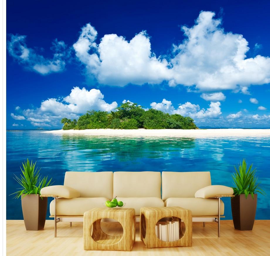 Island Beach Wallpaper: 3D Sea Island Background Wall Wallpaper For Walls Roll