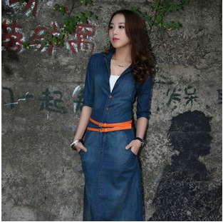 289be10fca 2015 New Fashion Women s Half Long Sleeved Slim Jeans Dress 100% Cotton  Cowboy Denim Single-breasted Dress with Belt C052