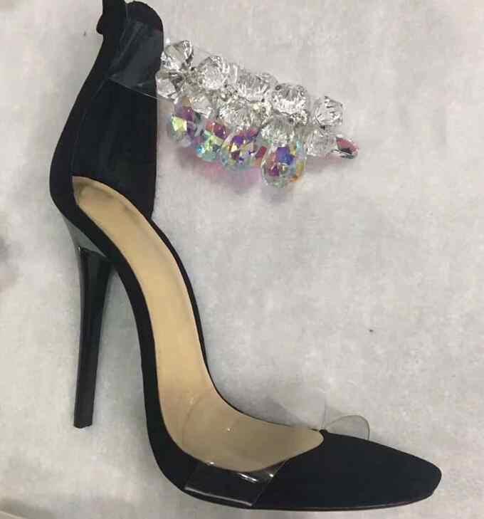Seksi Saf Titreşimsiz Kristal Ayak Bileği Kayışı Muhtasar Kadınlar için Temizle PVC Sandalet Bayanlar Yüksek Topuklu Parlak Deri Patchwork Parti Stilettos