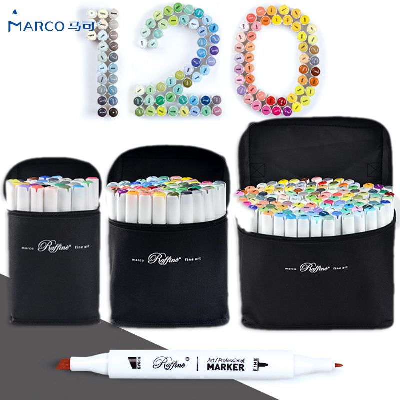 Marco 30/60/120 Color Sketch Marker Dual Head Artist Oil Alcohol Based Markers For Painting/Anime/Costume Design Art Supplies art mark pen oil alcohol double head artist sketch marker anime interior design student common color