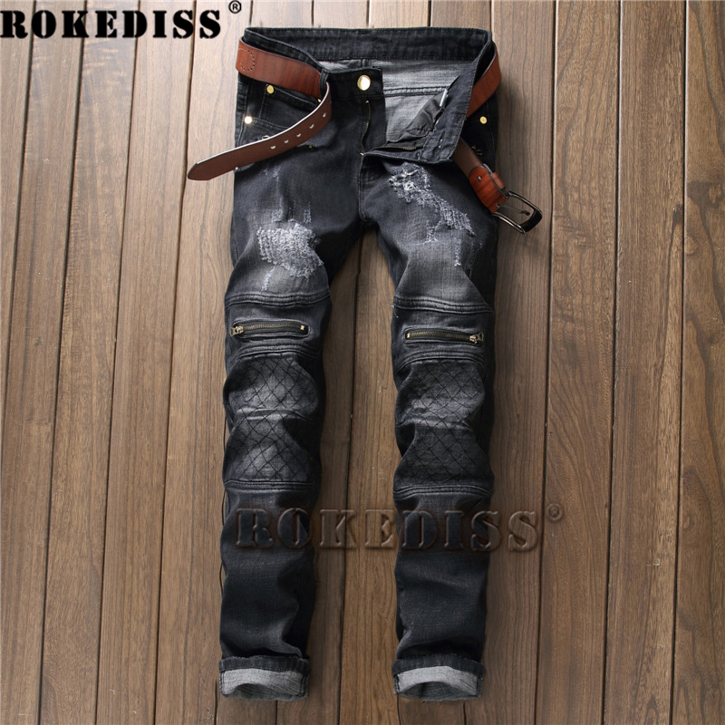 Motorcycle jeans Spring and Autumn 2017 New products zipper Feet black Straight pants personality Slim Tide male trousers C180