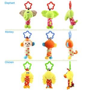 Image 4 - 6 stile Baby Kinder Rassel Spielzeug Cartoon Tier Plüsch Hand Glocke Neugeborenen Baby Kinderwagen Krippe Hängen Rasseln Kawaii Baby Infant spielzeug