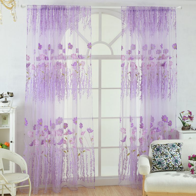 1 * 2M Sheer Voile Tulle Window Curtains Bedroom Living Room Balcony Kitchen Printed Tulip Pattern Sun-shading Curtain SZ