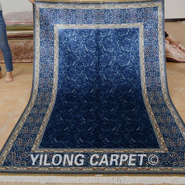 Yilong 5 X8 Hereke Silk Carpet Blue Vantage Hand Knotted Traditional Oriental Rug