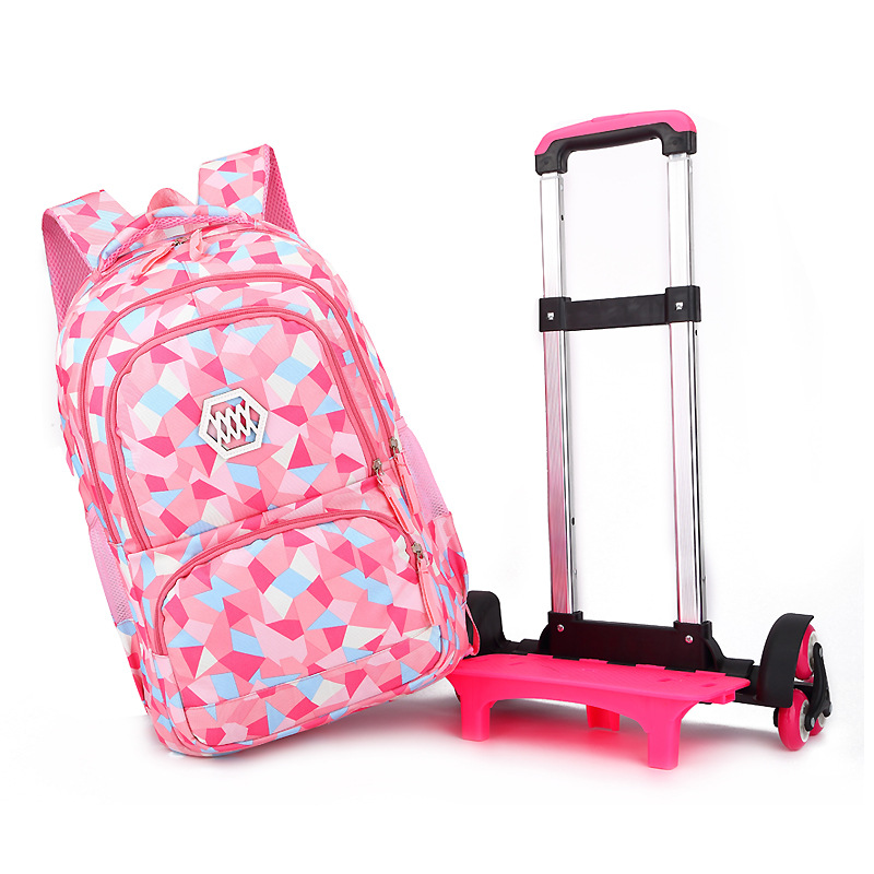 2019 New Removable Children School Bags With 6 Wheels For Girls Trolley Backpack Kids Wheeled Bag Bookbag Travel Luggage
