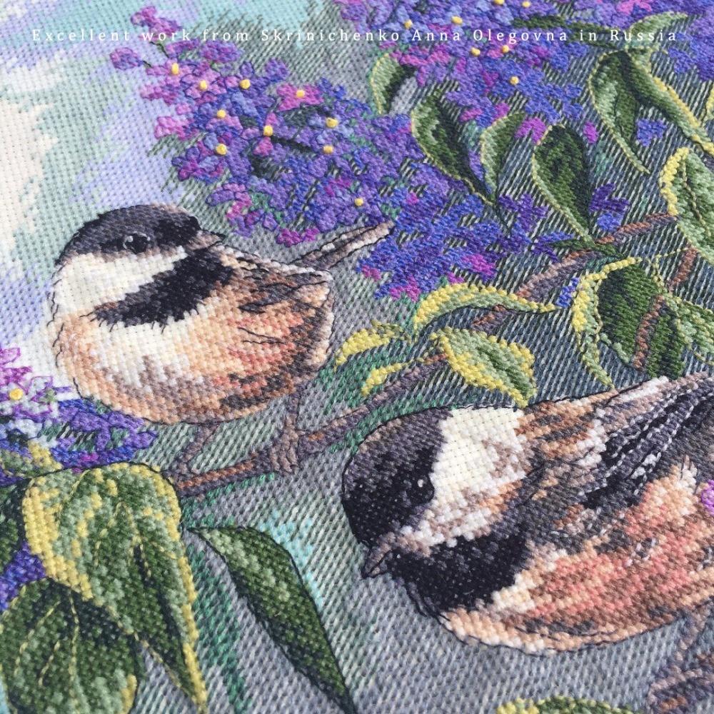 Cross Stitch Kit Chickadees and Lilac Purple Flower and Bird dim  35258