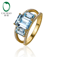 Caimao Jewelry 14kt Yellow Gold 4 07ct Blue Topaz 0 18ct Natural Diamond Engagement Ring