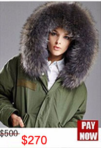 Factory wholesale price Women's Vintage Retro Fur Hooded Military Parka Jacket Coat with pink lined and collar fur mr 14