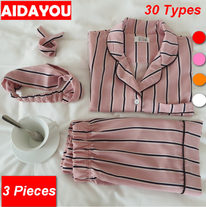 Fashion Women Pajamas Collar Sleepwear 3 Pieces Set Shirt+Shorts +Mask Striped Casual Pajama Set OUC3265b Aidayou