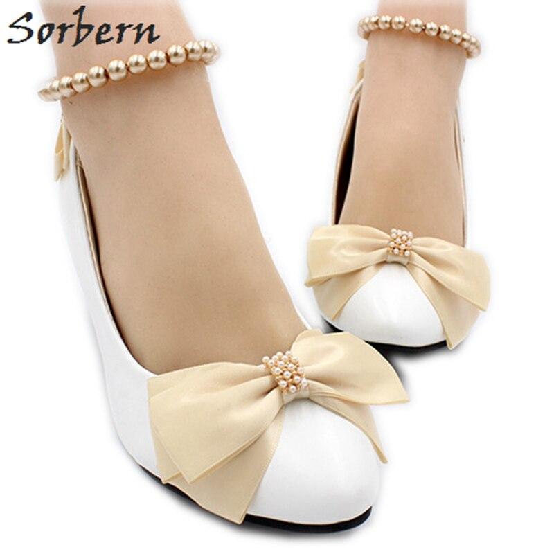 5089861ad Sorbern/белые свадебные туфли с бантом цвета шампанского дешевые женские  туфли-лодочки на низком каблуке с ремешками на Лодыжках и бусинами Но..