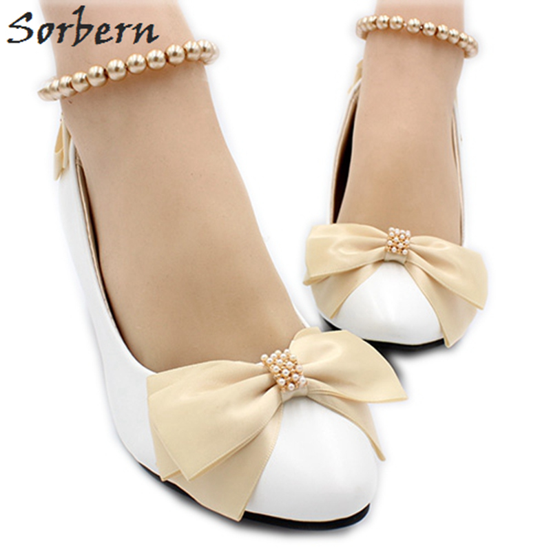 Sorbern Champagne Bow White Wedding Shoes Beading Ankle