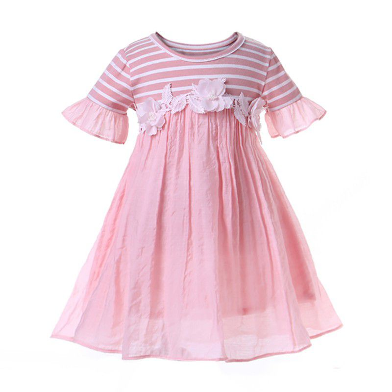 Toddler girls dress cute pink flower flare short sleeve baby summer clothing