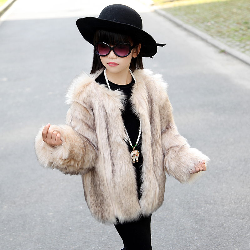 New Children Faux Fur Coat Baby Girls Autumn Winter Warm Short Full Solid Coat Clothes Kids Faux Fur Coats Thick Fur Outerwear new girls fur coat baby kids outerwear rabbit fur liner windbreaker children coats